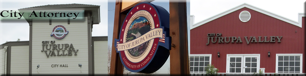 "City Attorney -  City of Jurupa Valley City Hall, Sign, and Red Building with ""City of Jurupa Val"