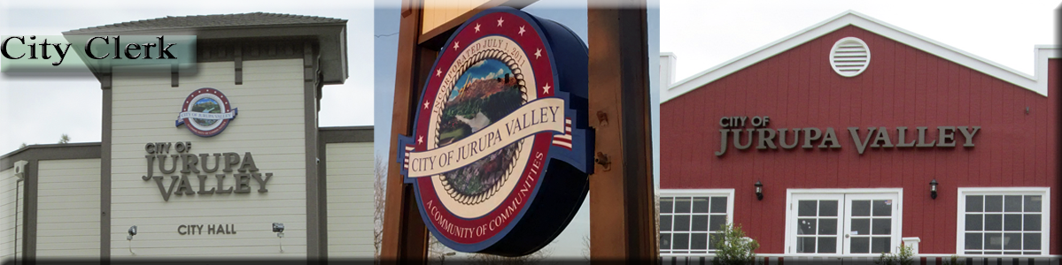 "City Clerk -  City of Jurupa Valley City Hall, Sign, and Red Building with ""City of Jurupa Valley"