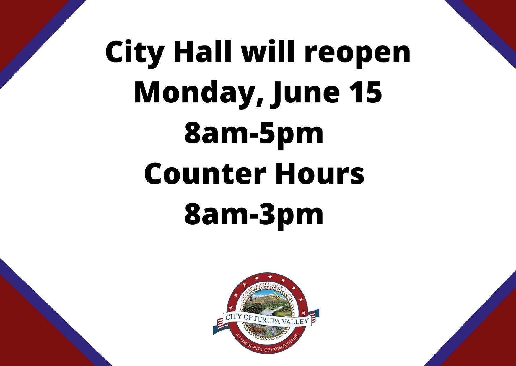 City Hall will reopen