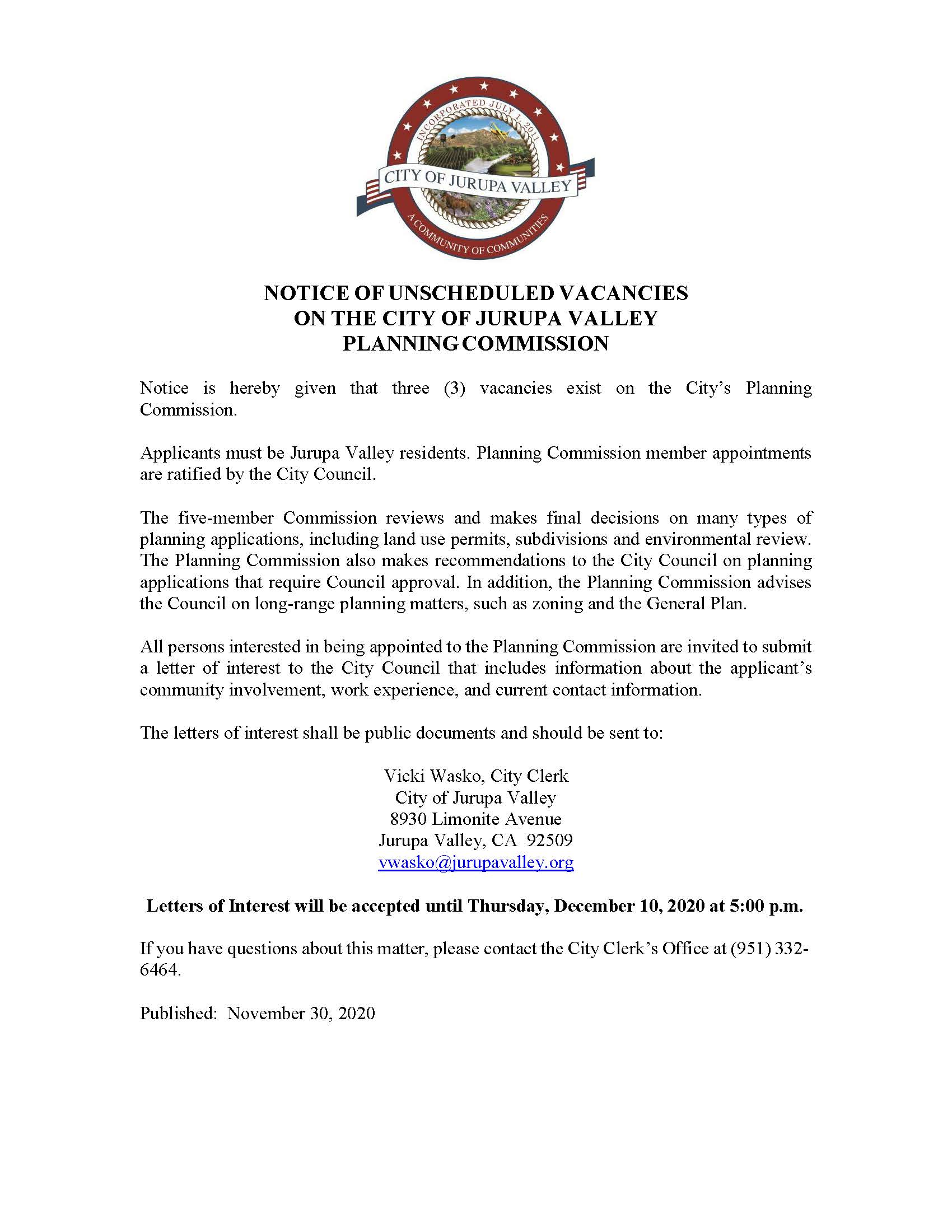 111320 - NOTICE OF UNSCHEDULED VACANCIES