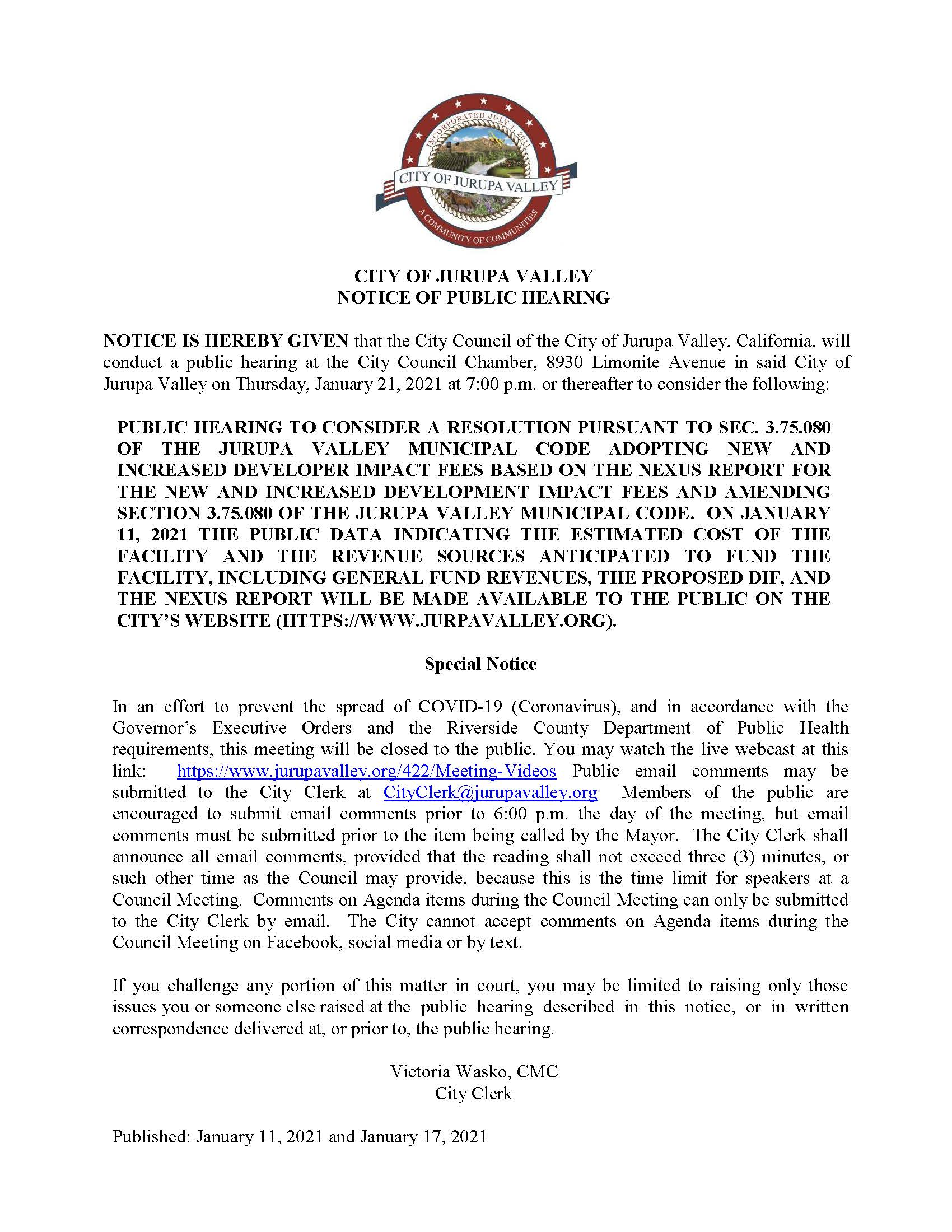 Revised Public Hearing Notice DIF