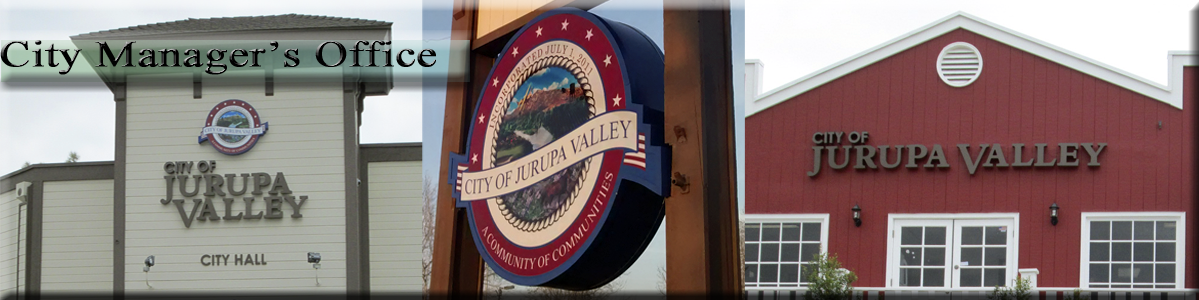 "City Manager -  City of Jurupa Valley City Hall, Sign, and Red Building with ""City of Jurupa Vall"