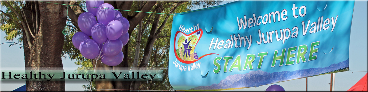 Welcome to Healthy Jurupa Valley Banner with Purple Balloon
