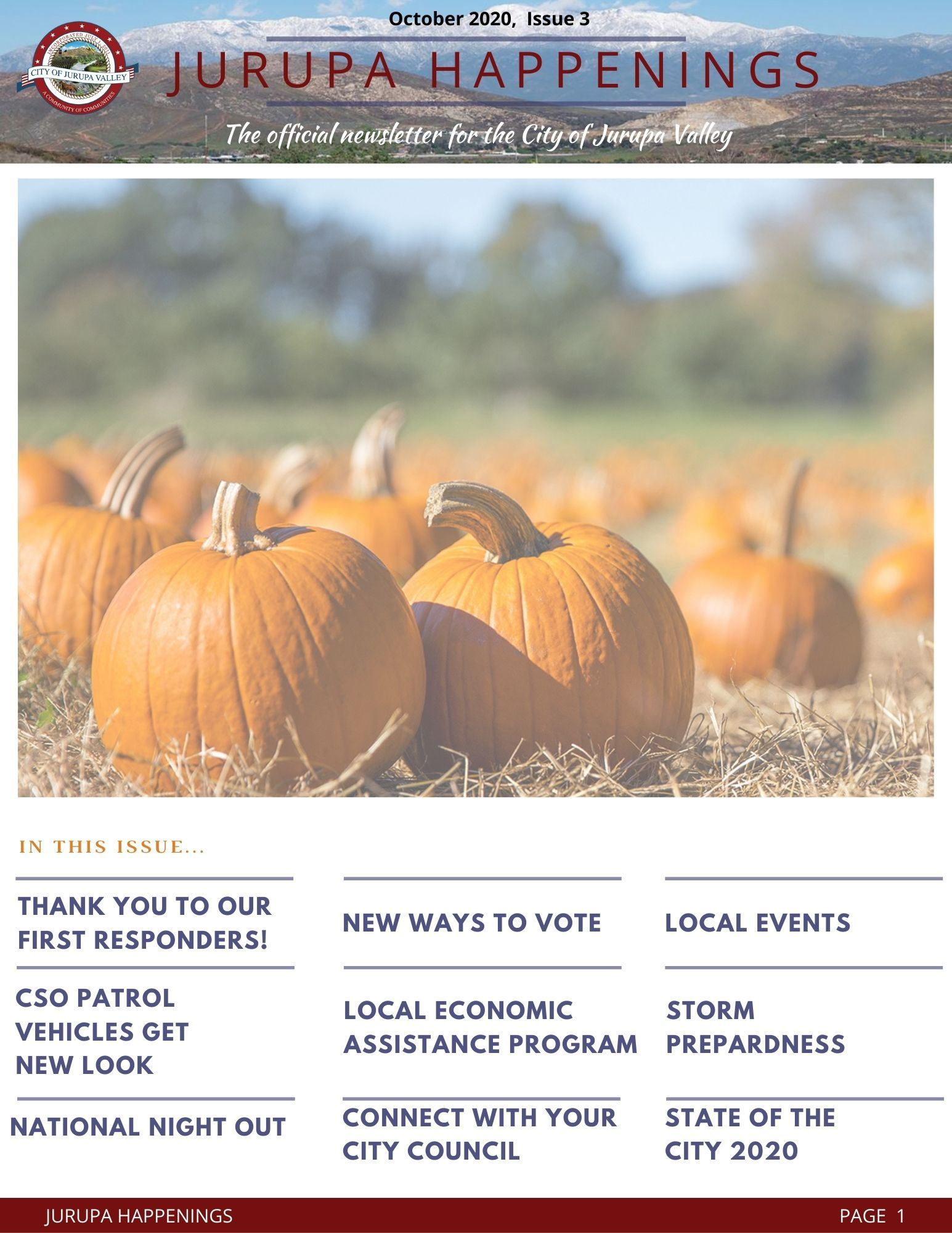 Copy of Jurupa Highlights eNewsletter - issue 3 October 2020  Opens in new window